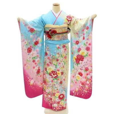振袖 レンタル 成人式 結婚式 安い ネット 高級 着物 格安 呉服屋 水色 花 桜 牡丹 NR-118