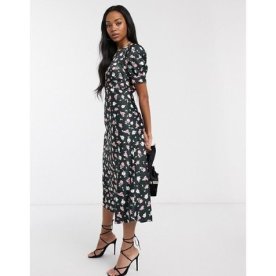 エイソス レディース ワンピース トップス ASOS DESIGN midi tea dress in black ditsy floral print