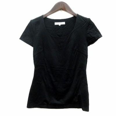 【中古】エムプルミエ M-Premier カットソー Tシャツ Uネック 半袖 36 黒 ブラック /MN レディース