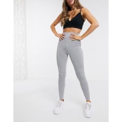 エイソス レディース レギンス ボトムス ASOS DESIGN structured rib skinny pants Gray