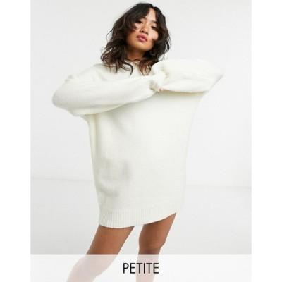 エイソス ASOS Petite レディース ワンピース ミニ丈 ワンピース・ドレス Asos Design Petite Mini Dress With Hoody Cream クリーム
