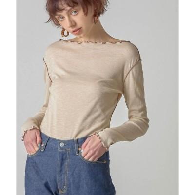 tシャツ Tシャツ シアーリブロングスリーブTシャツ/Sheer rib long sleeve T-shirt