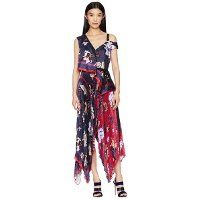 イエガルズロール レディース ワンピース トップス Pleated Handkerchief Scarf Print Dress Midnight Multi