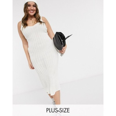 インザスタイル ドレス 大きいサイズ レディース In The Style Plus x Shaughna ribbed midi dress in cream エイソス ASOS