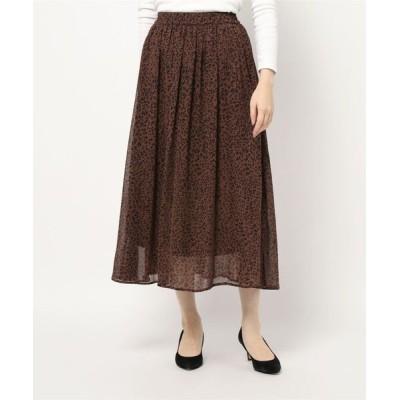 スカート シアーレオパードギャザー/スカート