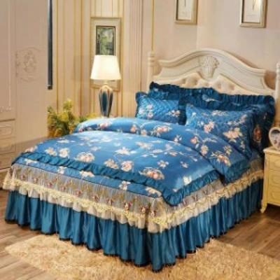 ベッド用品4点セット掛け布団カバー 枕カバー ベッドパッド ワイドダブルサイズ.