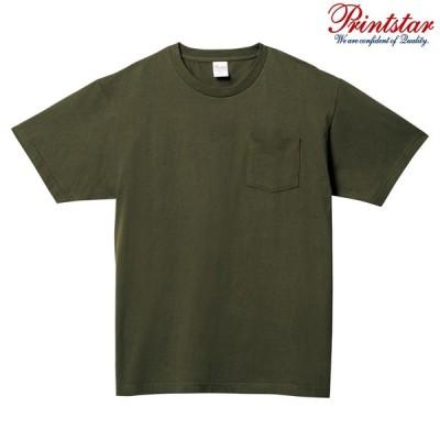 メンズ レディース キッズ Tシャツ 半袖 Vネック ポケット付き ヘビーウェイト 5.6オンス 無地 アーミーグリーン XS サイズ 109-PCT