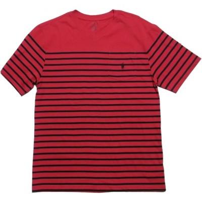 ポロ ラルフローレン ボーイズサイズ 半袖 Vネック ボーダー Tシャツ レッド Polo Ralph Lauren boys 1156