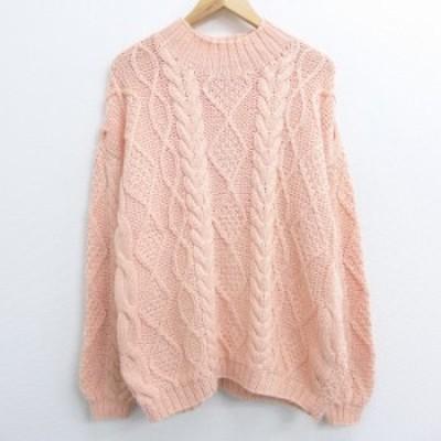 古着 レディース 長袖 ケーブル セーター 90年代 90s 大きいサイズ ハイネック モックネック ピンク系 中古 ニット トップス セーター ニ