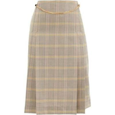 ヴィクトリア ベッカム Victoria Beckham レディース ひざ丈スカート スカート Belted pleated checked-wool high-rise skirt Beige