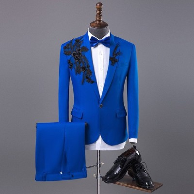 カジュアルスーツ ズボン 2点上下セット メンズ テーラードジャケット 紳士服 王子様 ブレザー 演出服 おしゃれ スリム 洋服 背広 結婚式 ステージ衣装