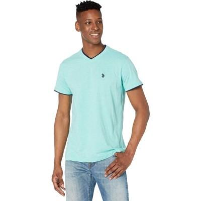 ユーエスポロアッスン U.S. POLO ASSN. メンズ Tシャツ Vネック トップス Double Ringer V-Neck-04 Jade Green Heather