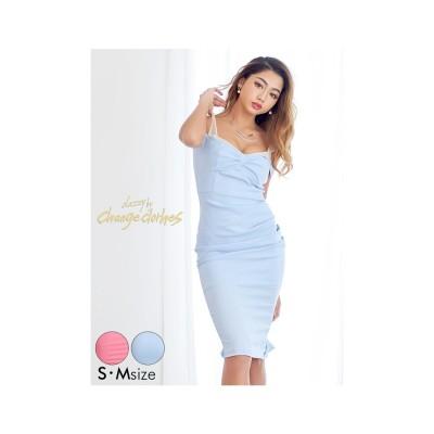 dazzystore キャンディカラーシンプルタイトドレス スカイブルー