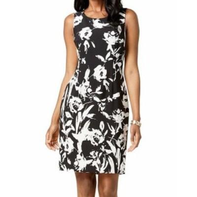 ファッション ドレス Kasper NEW Black Womens Size 4 Floral Print Two-Tone Sheath Dress