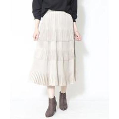 COMME CA ISM(コムサイズム)ベロア ティアードスカート