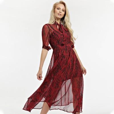 ゲス GUESS Madiha Jacquard Skirt (SCRATCHED VICHY BLACK AND RED COMBO)