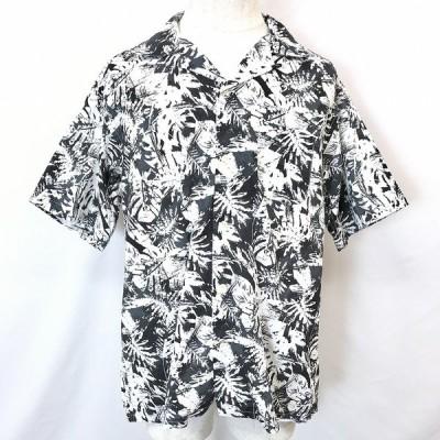BEAMS HEART ビームスハート L メンズ 男性 シャツ アート柄 リーフ柄 オープンカラー 半袖 胸ポケット 綿100% ブラック×ホワイト 黒×白