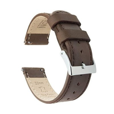 20mm Saddle Brown BARTON Quick Release Top Grain Leather Watch Band Strap【並行輸入品】