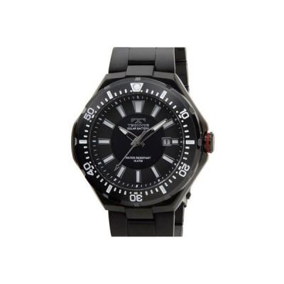 Technos テクノス T2415BB ソーラーバッテリー デイト 10気圧防水 ブラック メンズ 腕時計