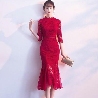 ドレス 結婚式 スリム イブニングドレス セクシー 上品 刺繍 ハイウェスト レッド DR-001SN