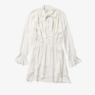 デレクラムテンクロスバイ レディース ワンピース トップス Long Sleeve Ruffle Hem Dress w/ Button Detail