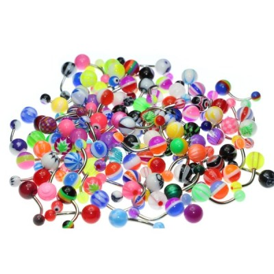 Oasis Plus Wholesale Lot 100pcs 14G Belly Button Rings Navel Barbell A