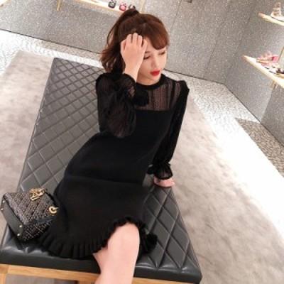 ワンピース ドレス ニット レース ブラック ミニ丈 長袖 フリーサイズ #0723