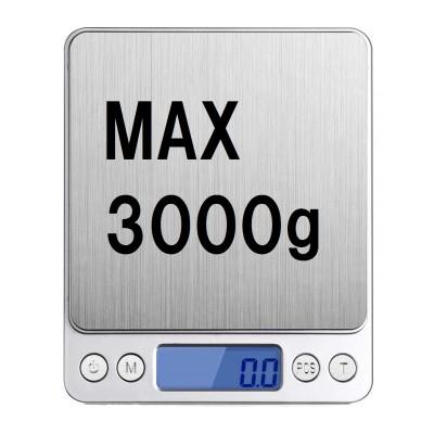 デジタルスケール 電子天秤 0.1g~3000gまで精密な計量器 風袋引き機能付き 料理用電子はかり シルバー