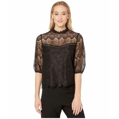 ビービーダコタ シャツ トップス レディース Icing On Top Puff Sleeve Lace Top Black