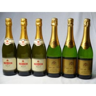 甘口・辛口スパークリング白ワイン3本2セット(イタリア3本 フランス3本) 750ml×6本