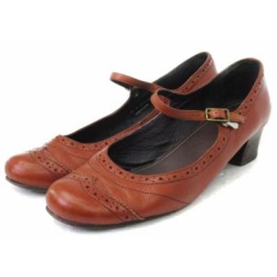 【中古】リーガル REGAL パンプス ストラップ ウイングチップ 茶 ブラウン系 24 靴 ■VPN レディース