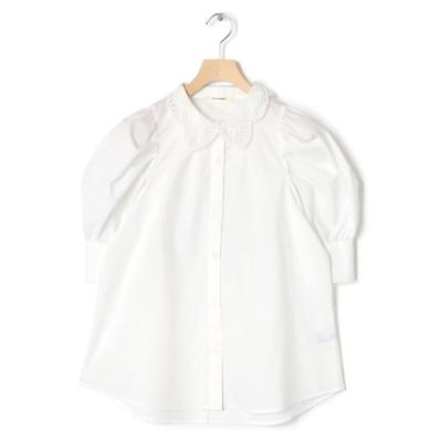 (w closet/ダブルクローゼット)衿レースパワショルブラウス/レディース ホワイト