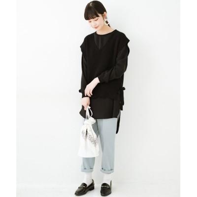 【ハコ】 今っぽ&オシャレに見える 透け感がきれいなトップスとニットベストのセット レディース ブラック M haco!