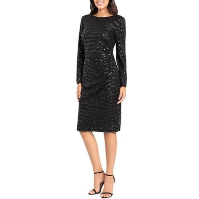 マギーロンドン レディース ワンピース トップス Boat Neck Side Ruched Long Sleeve Stretch Sequin Midi Dress Black