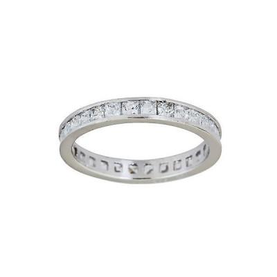 ジュエリー ファインリング 宝石 ストーン Decadence Sterling Silver Princess-cut Channel Set CZ Eternity Ring