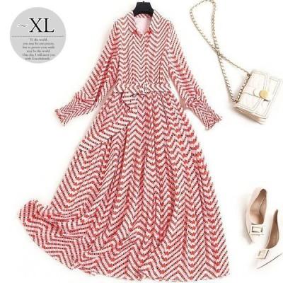 ワンピースドレス総柄プリント襟付き上品ベルト大人ふんわりお出かけ華やか母親リゾート美人ドライブ華美ラグジュアリー