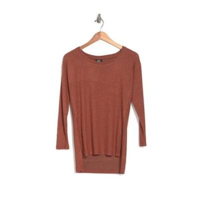 ボベー レディース Tシャツ トップス High Side Slit Long Sleeve Tunic RUST