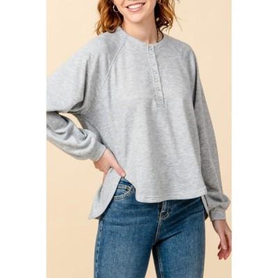 ハイファイブ レディース Tシャツ トップス Buttoned Half Placket French Terry T-Shirt HEATHER GREY
