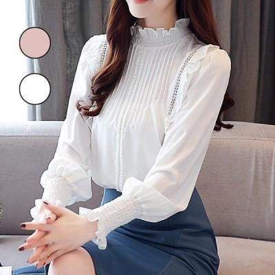 ブラウス レディース 白シャツ シフォン トップス オシャレ フリル 2色 韓国風 ホワイト 通勤 OL 長袖 40代 体型カバー