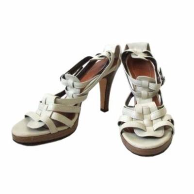 ESPERANZA エスペランサ レザーヒールサンダル (白 靴 革 皮 シューズ) 110508【中古】