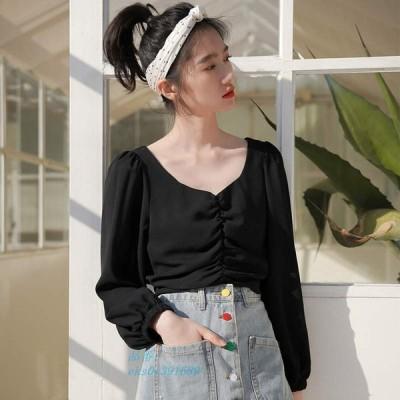 レディース キュート きれいめ フリーサイズ ブラック ブラウス 送料無料 カジュアル 黒 トップス オーバーサイズ 長袖シャツ フェミニン ロングシャツ 可愛い