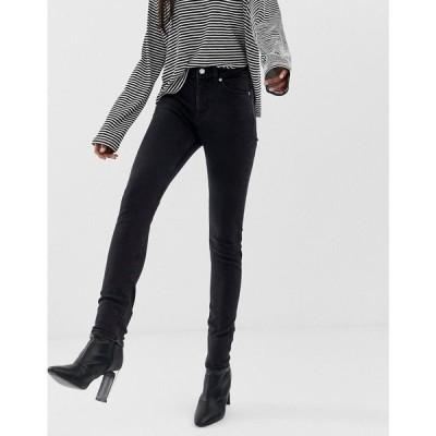 ウィークデイ Weekday レディース ジーンズ・デニム ボトムス・パンツ Thursday high waisted skinny jeans in black Tuned black