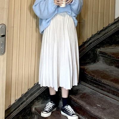 ロング ギャザー スカート ウェストゴム仕様 Mサイズ クリーム ファッション アパレル 海外 韓国 インポート セレクト スタイル