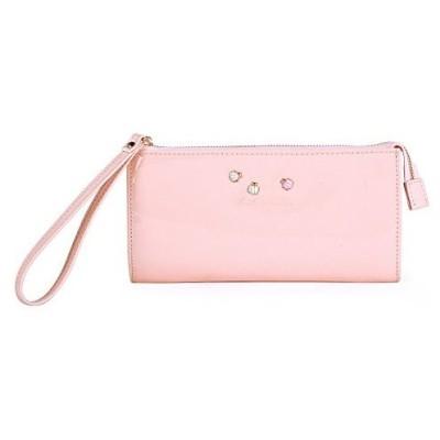 (ダラマ)Damara レディース ストラップ付け 長財布 可愛い飾り ファスナー開閉式 防水抜群 エナメル革 ピンク