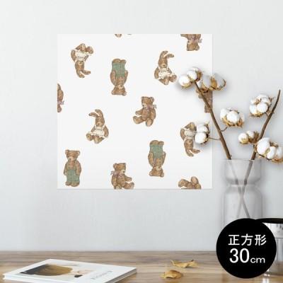 ポスター ウォールステッカー シール式 30×30cm Ssize 壁 インテリア おしゃれ 剥がせる wall sticker poster 動物 熊 うさぎ 010194
