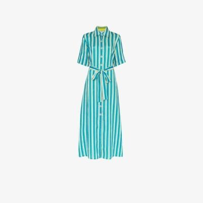 エヴィ グリンテラ Evi Grintela レディース ワンピース シャツワンピース ワンピース・ドレス Sunflower striped linen shirt dress blue