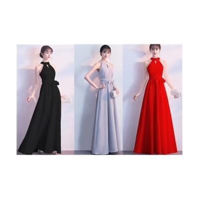 上品でエレガントなフレアーライン ストレッチロングドレス