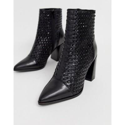 エイソス レディース  ブーツ・レインブーツ シューズ ASOS River Island leather woven boots with pointed toe in black