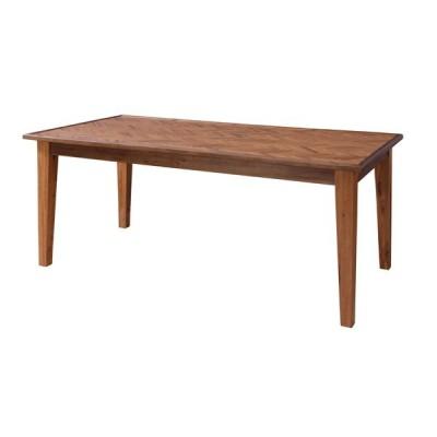 ダイニングテーブル 天然木製 長方形 北欧 おしゃれ ヘリンボーン 天板