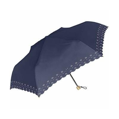 完全遮光 折りたたみ傘 55cm 手開き 晴雨兼用 遮光100% 遮蔽99% UVカット UPF50+ ネイビー